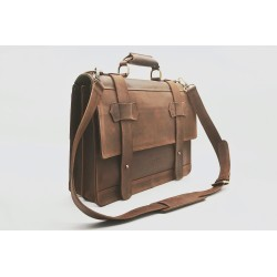 Matías Brown greasy leather handmade leather briefcase